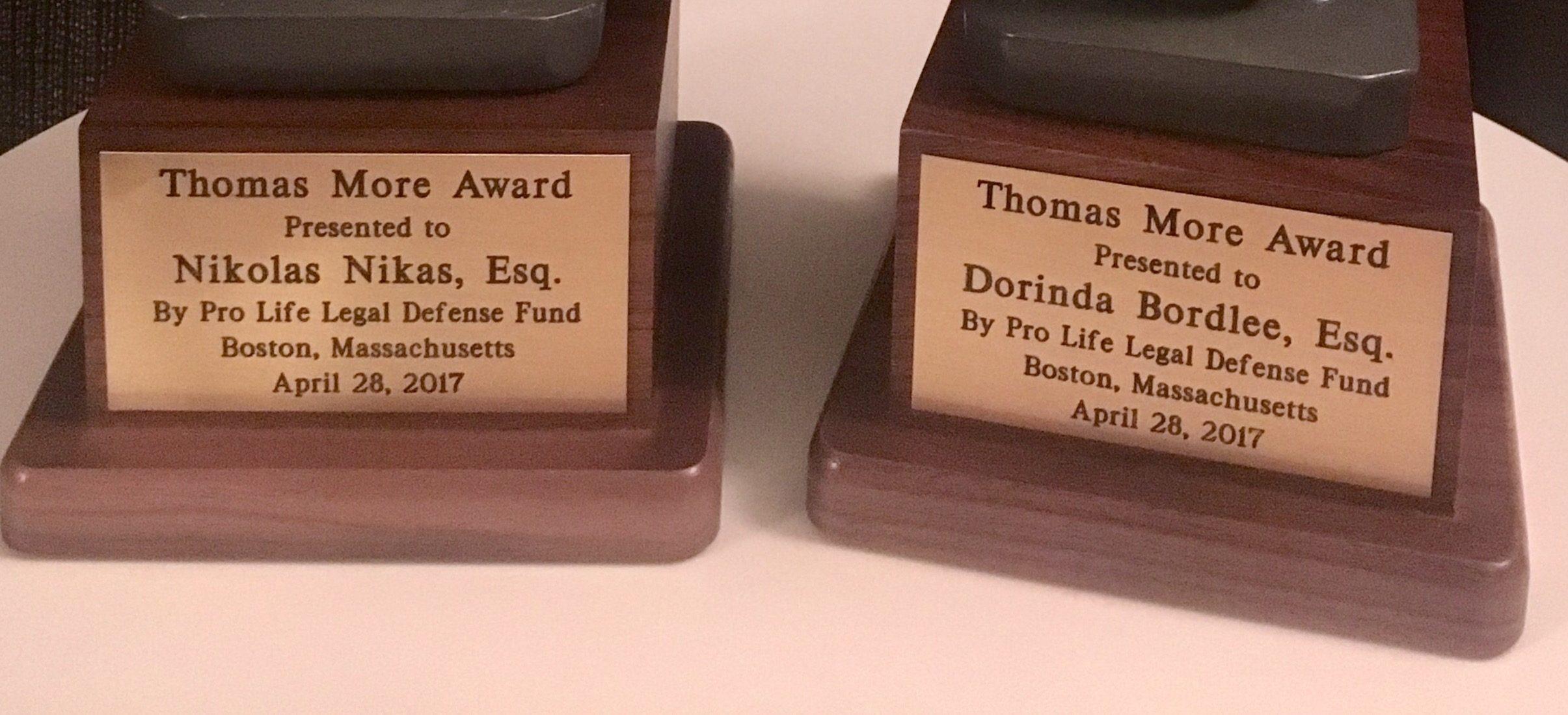 Thomas More Award Granted to BDF Co-Founders